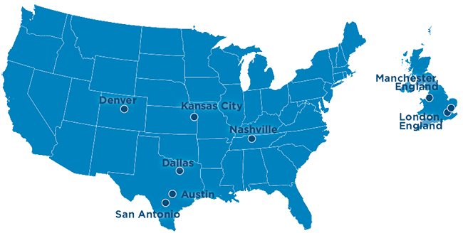 Sarah Cannon Blood Cancer Network located in Austin, Dallas, Denver, Kansas City, Nashville and San Antonio in the United States. In the United Kingdom, located in London and Manchester.